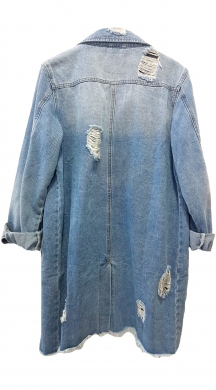 Long Denim Jacket με ξέφτια CARLA