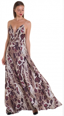 Snake print dress with cut-out back