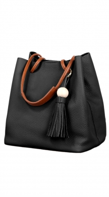 Leather Bag with Tampa Handle and Decorative with Fringes
