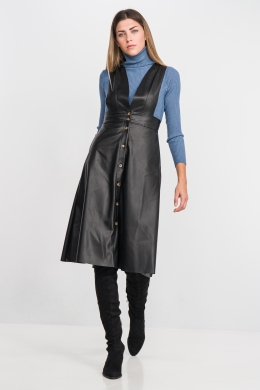 Leatherlook Dress-Dungarees