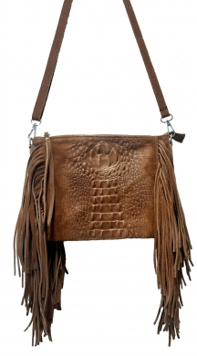 Leather croco bag with fringes and strap