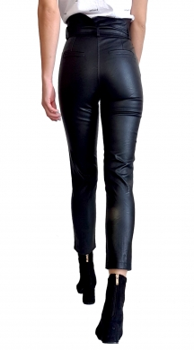 High Waist Leather Pant with Belt and Pocket