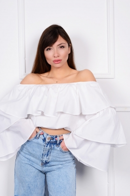 Top off shoulder με βολάν  ONLINE