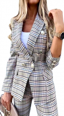 Checkered Blazer  with Buttons