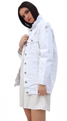Woman's white denim jacket