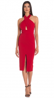 Bodycon φόρεμα με crossed λαιμό και cut-outs