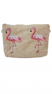 Set of straw wallets with embroidded flamingos