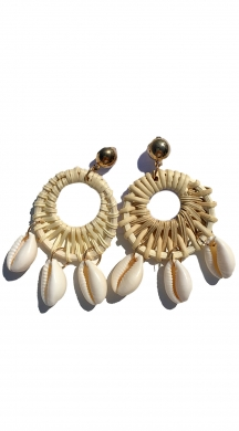 Earrings Hoops with straw and seashells