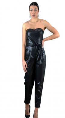 Strapless ecoleather jumpsuit ONLINE