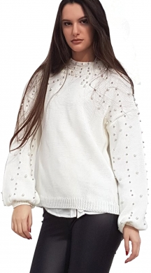Woman's full pearl knit with big sleeves