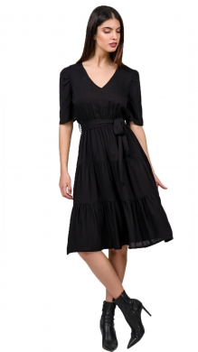 Short Sleeve Dress with Frill and Belt