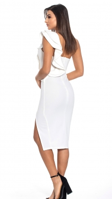 Dress with One Shoulder and Frill Details-ONLINE