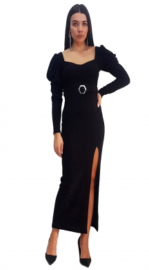 Maxi Dress with Belt and Tear
