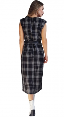 Long Tartan Dress with Leather
