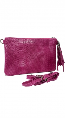 Leather Croco Bag Folder with Strap