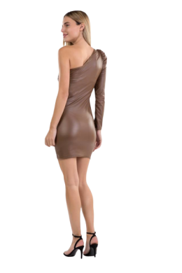 Leatherlook Dress with One Sleeve