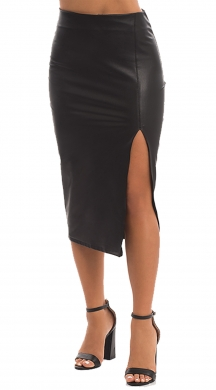Midi Leather Skirt with Openings ONLINE