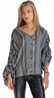 Streaky Blouse with Balloon Sleeves