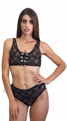 Bikini with lace pattern and cords