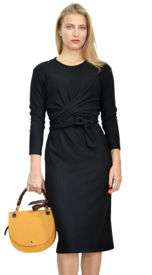 Midi Monochrome Dress with Tied in the Middle Alex