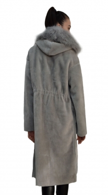 Fur Coat with Capote and pocket