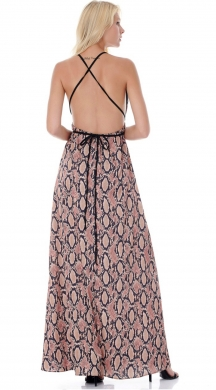 Snakeprint Silk like-Maxi Φόρεμα-ONLINE