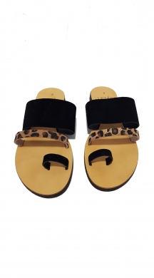 Leather Sandal Black with leopar details