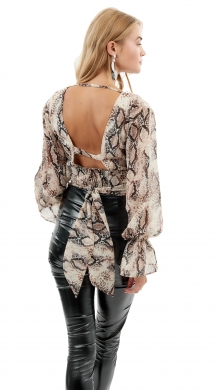 Snake Print Blouse with Open Back ONLINE