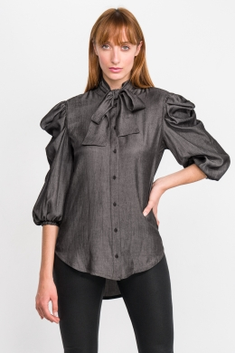 Monochrome Blouse with Ballon Sleeves