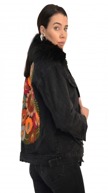 LUX fur jacket with design on the back