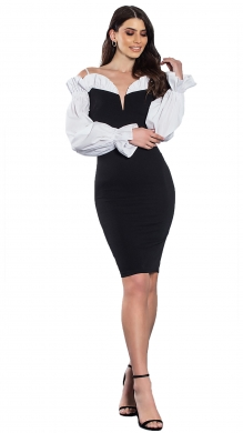 Midi Bodycon Dress with V and Balloon Sleeves