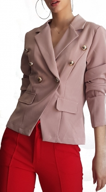 Woman's crop blazer office look with gold buttons