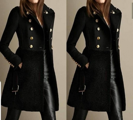 Long Coat with Buttons on Front
