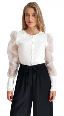 Top with Tulle Ballon Sleeves