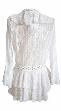 Lace shirt with ruffles