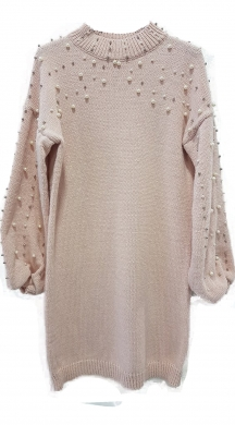 Knitted dress full pearls