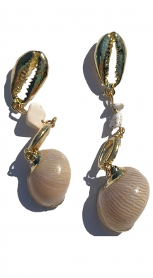 Drop Earrings with seashells and rocks MOLLY