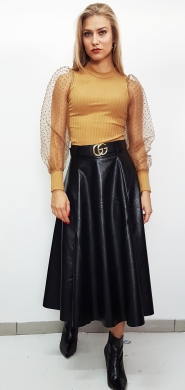 Midi Leatherlook Pleated Skirt