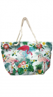 Floral Beach Bag with flamingo