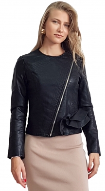 LeatherLook Jacket με βολάν