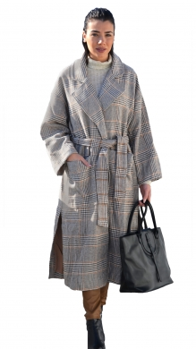 Long Coat with Belt and Pockets