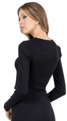 Woman's crop top with cut out out on the chest