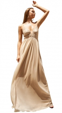 Maxi dress with V neck and cut-out back SANDRA