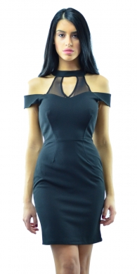 Mini black dress with cut out shoulders and transparent details
