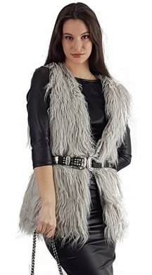 Woman's fluffy furry vest