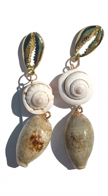 Drop Earrings with seashells and rock PETRAL