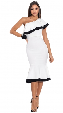 Midi Dress with One Shoulder and Frill-ONLINE