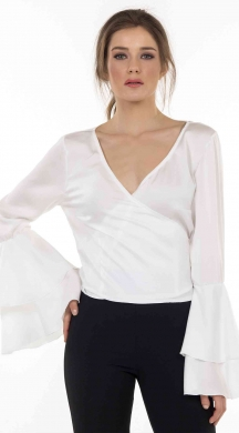 Woman's wrap satin top with tuffled sleeves Online