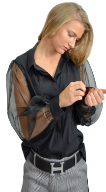 Monochrome Blouse with Transparent Sleeves ONLINE