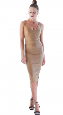 Bodycon Midi Φόρεμα Leather Look ONLINE